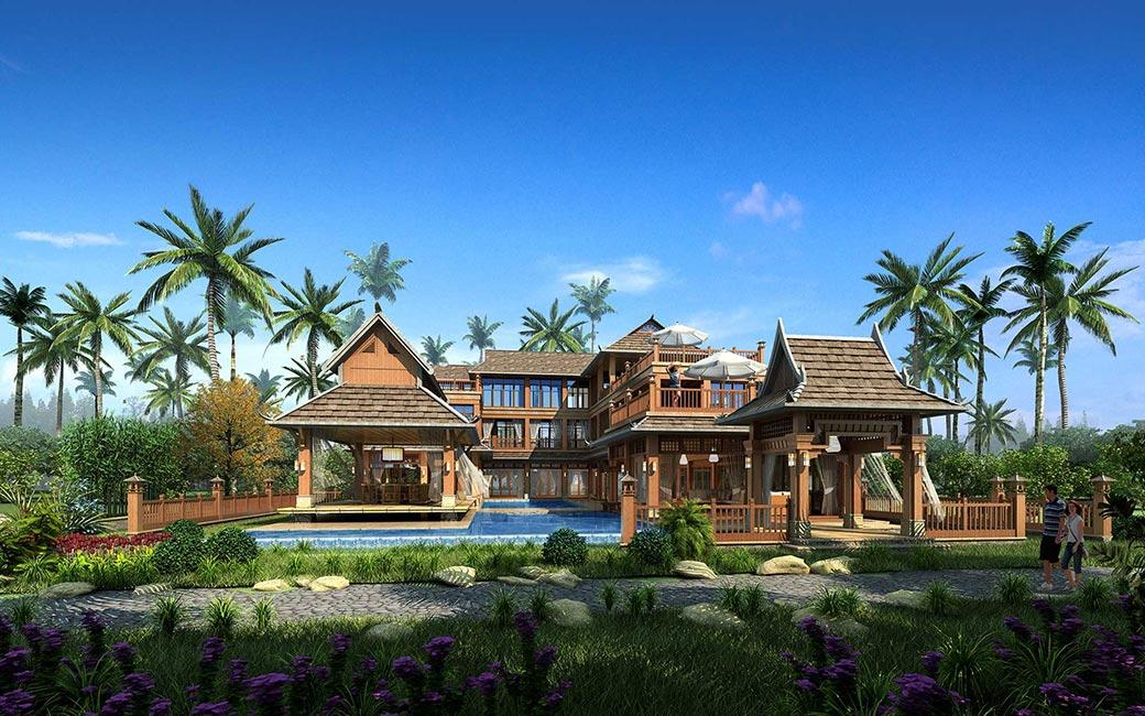 """建筑设计手法上,保留傣族房子的吊脚楼形式,以及木结构,用""""修旧如旧"""""""