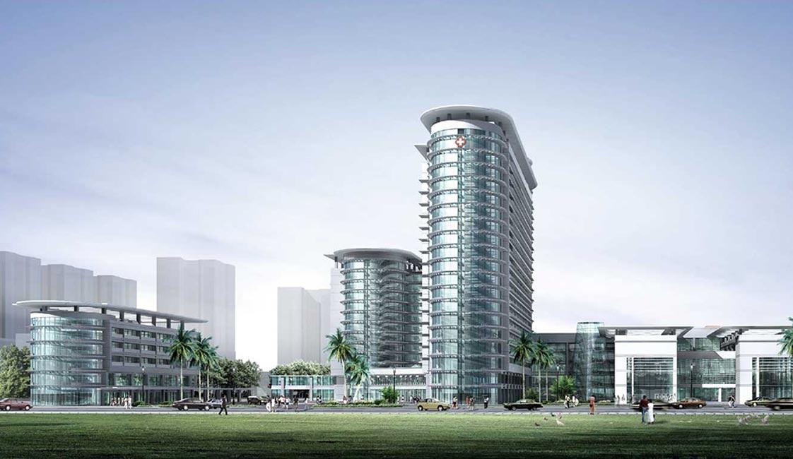 本案为新建大型综合医院,总体布局为集中与分散式相结合,高层与多层相